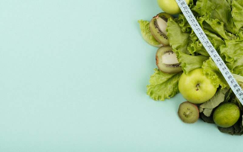 green-fruit-with-measurement-copy-space